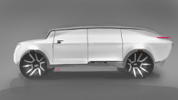 Range Rover concept- white graphic conceals organic cabin and retains Range Rovers geometric design language.