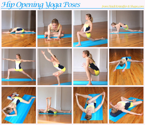 fitnessloveaffair:  Here are 12 yoga poses to help open your hips. Heidi Kristoffer recommends that you pick any five of these openers each day, switching them up each time. Hold each pose for about 30 seconds each, take deep breaths, and you will start to feel more open. For more details on each pose check out the original post at Shape.com.