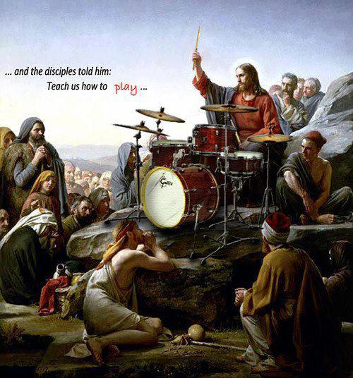 Dave Grohl teaches peasants how to beat your way to the Kingdom of Rock.