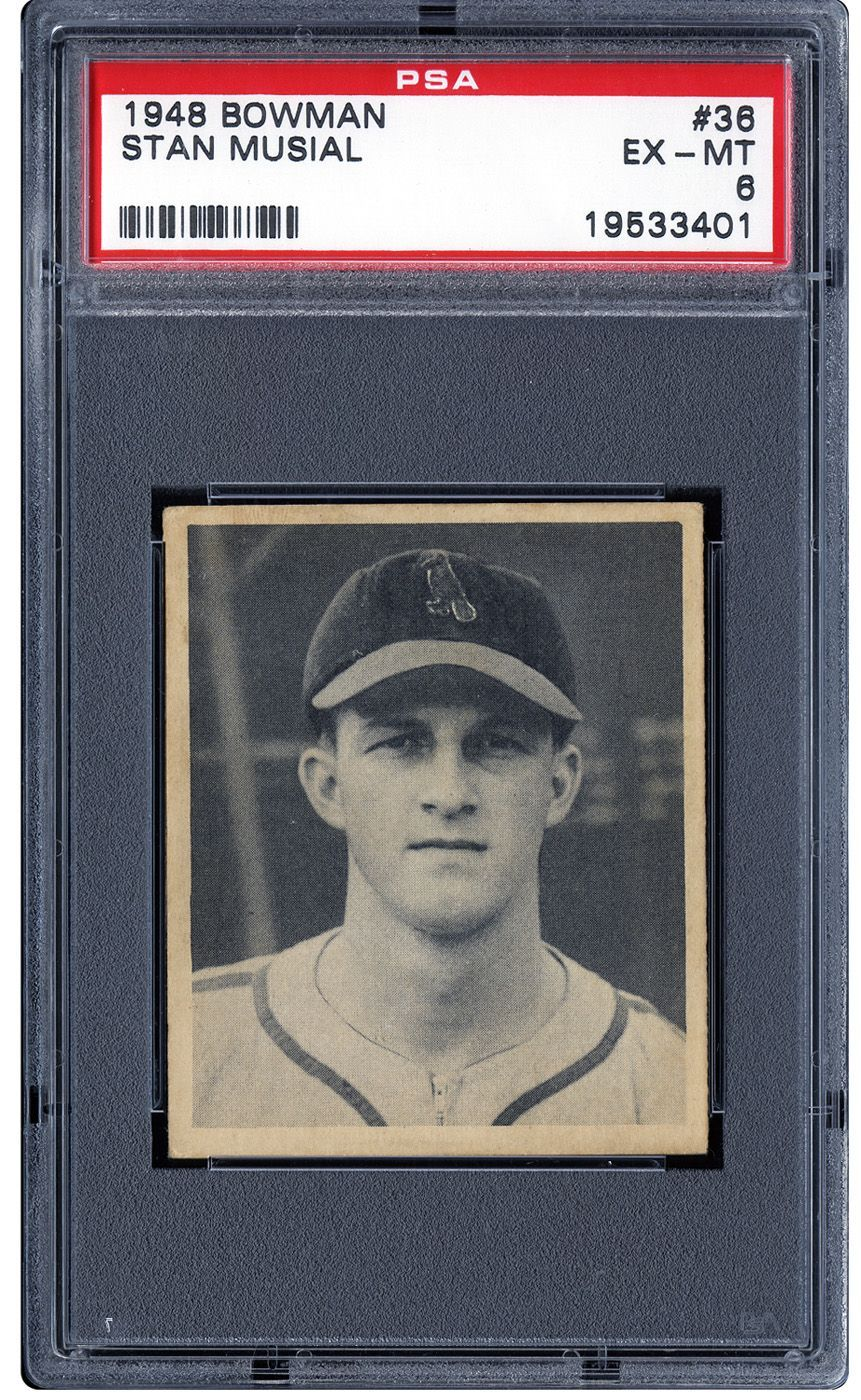 Stan Musial's 1948 Bowman rookie card.
