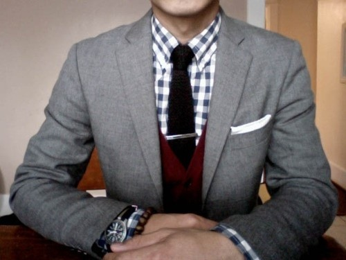 suitdup:  I'd change the pocket square to match the wine/burgundy vest. Liven it up a bit more. Looks like something I'd wear to a classy brunch date.