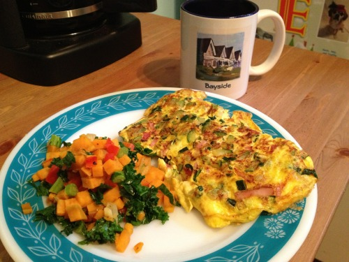 Dinah Party's Furious Breakfast 1/26/13: Sweet tater hash with Kale, Red Pep, Onion, Garlic Omlette with ham, spinach and Zuchinni Coffee in cottage mug. TFFY