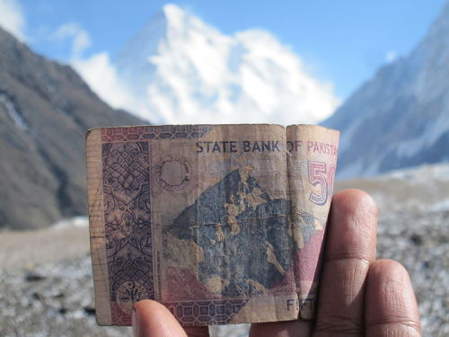 K2 juxtaposed with the 50 rupee note