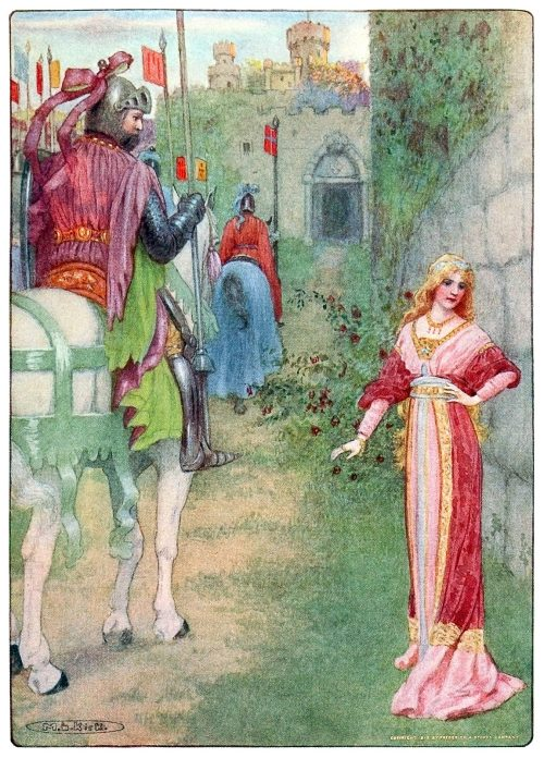 The princess drew back, blushing.  Maria Louise Kirk, from The story of Idylls of the king, adapted from Tennyson by Inez N. McFee, New York, 1912.  (Source: archive.org)
