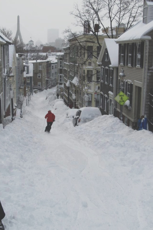 ukjakewest:  slutless: Skiing down a street  Welcome to boston