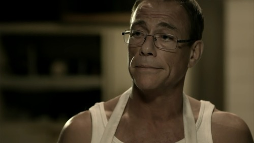 "Jean-Claude Van Damme as Tim Gunn the Butcher in tonight's film, 6 Bullets. ""Make it work!"""