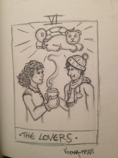 vulpana:  So last night I made a thumbnail sketch of Susannah and Eddie as a Tarot card. Whoops. And then it gave me a lot of feels so I had to stop. Double whoops.  The only time hot cocoa makes me sad ;_;