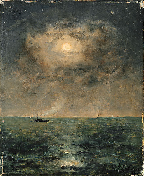 Alfred Stevens (1823-1906) Moonlit seascape  I think I saw this on my dash a couple days ago