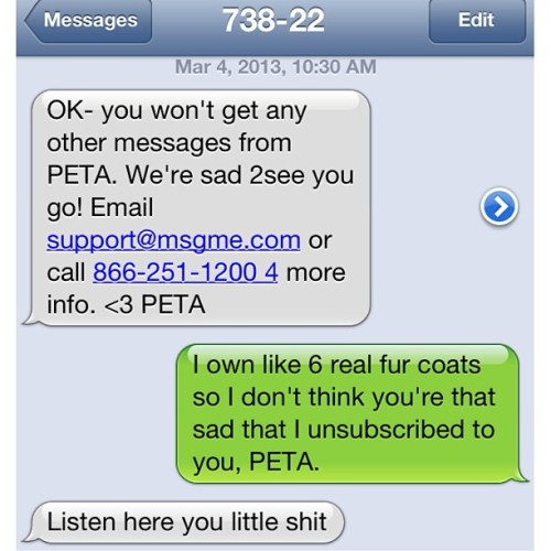 moonriseghosts:  PETA gets sassy