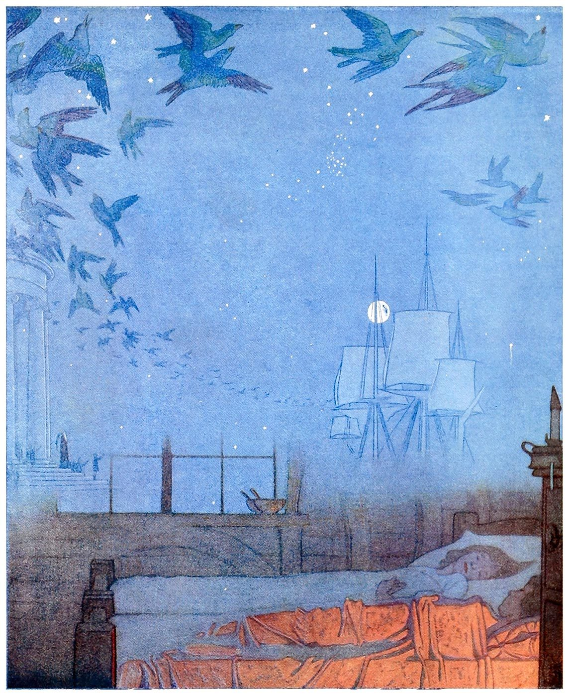 oldbookillustrations:  Frederick Cayley Robinson, frontispiece from The blue bird, by Maurice Maeterlinck, New York, 1920. (Source: archive.org)