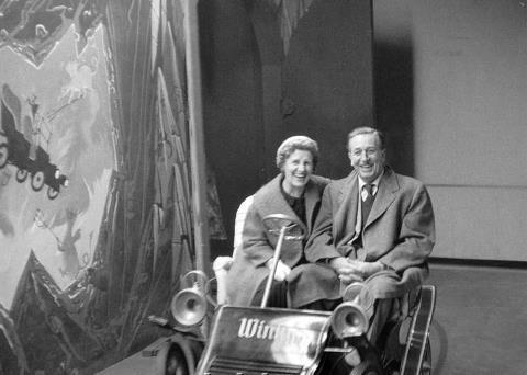 disneylandguru:  Walt and Lillian on Mr. Toads Wild Ride
