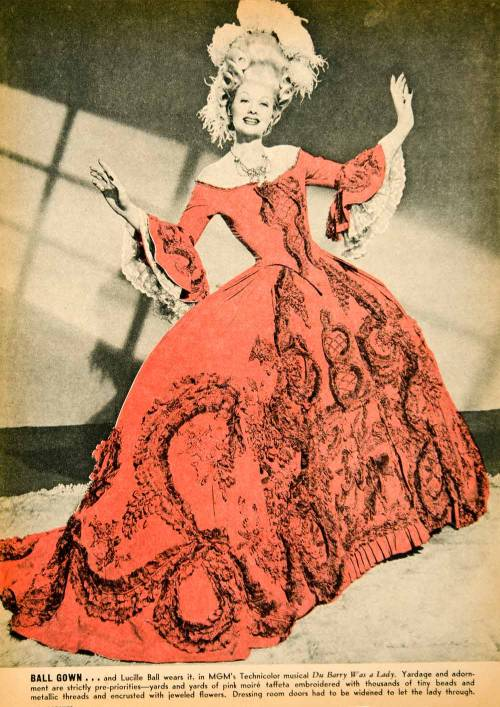 A colored engraving of a Lucille Ball promotional shot for 'Dubarry is a Lady.' She is wearing a gown worn by Norma Shearer in Marie Antoinette (1938) source: ebay