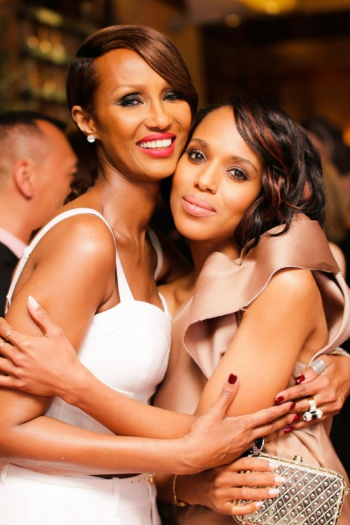 womensweardaily:    Iman and Kerry Washington Photo by David X Prutting/BFAnyc.com