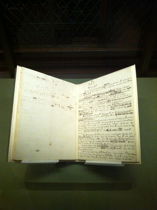 bookmania:  This is the one and only original manuscript of Charles Dickens' A Christmas Carol. The Morgan Library and Museum displays Charles Dickens's original manuscript of A Christmas Carol in Pierpont Morgan's historic Library until January 13, 2013. Dickens wrote his iconic tale in a six-week flurry of activity, beginning in October 1843 and ending in time for Christmas publication. He had the manuscript bound in red morocco as a gift for his solicitor, Thomas Mitton. The manuscript then passed through several owners before Pierpont Morgan acquired it in the 1890s.      It reveals Dickens's method of composition, allowing us to glimpse the author at work. he began writing the story in October 1843, completing it in only six weeks. His apparently contiguous pace of writing and revision was urgent but moldly confident. The interlinear revisions increase the story's vividness: text is struck out with a continuous looping movement of the pen and replaced with more active verbs and fewer words to achieve greater concision. Dickens sent this manuscript to the printer in early December, and the book was published in time for the Christmas market. [The Morgan, 2012] (photo: yyz2nyc)