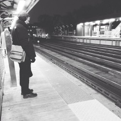Contemplative on the platform #train #chicago #igdaily #igchicago #blackandwhite #urban #cta #platform #man #candid #strangers
