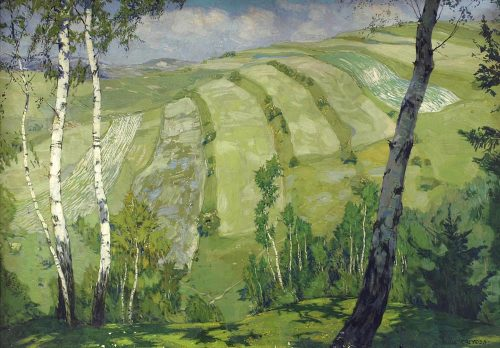 poboh:  Landscape with birch trees, Alois Kalvoda. Czech (1875 - 1934)