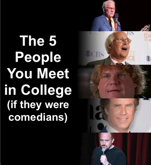 The 5 People You Meet In College (if they were comedians) [Click for full description] Which one are you?