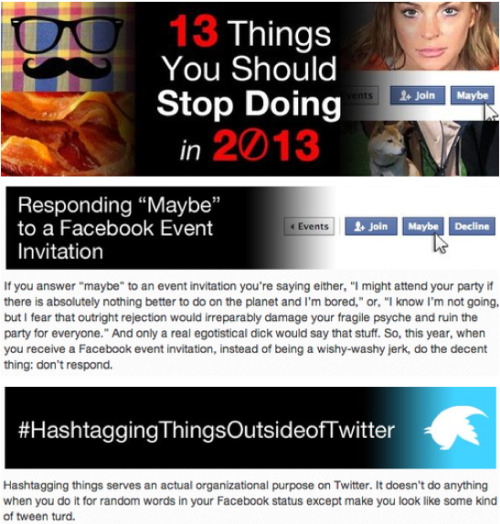 13 Things You Should Stop Doing in 2013 [Click for full list]
