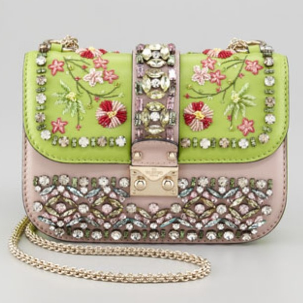 Valentino mini embellished flap bag. Full of life and gorgeous!