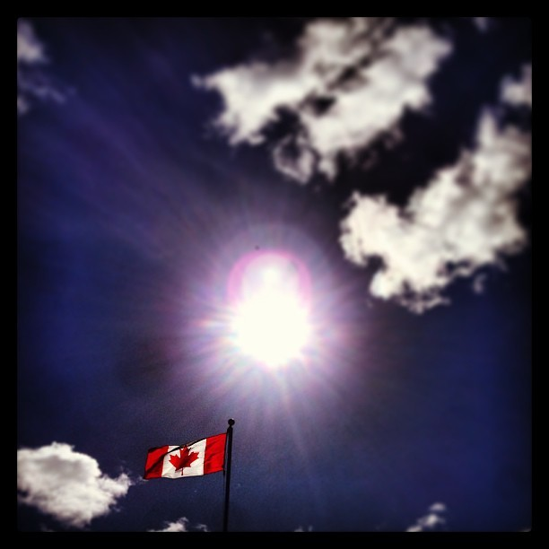 O'Canada. #iphonephotography #iphone #portmoody #sun #windy #spring #boathouse (at Rocky Point Pier)