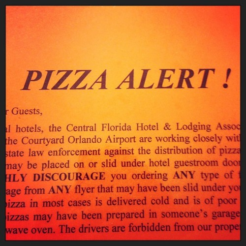 Unauthorized pizza delivery is the great scourge of central Florida. #orlando