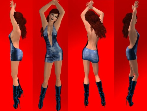 paywriter:  Two great new outfits from Devicious Vanity is much like the ReVenge dress with the plunging neckline but without the ties across the front. Some great fabric and leather options from three 10-color HUDs plus blue, pink, red, and white boots in three sizes. Samba Nights fabric on the close up of my fanny. Red Lace on the down front shot. Great textures, well worked alphas … sexy dress!Hamptons Nights is a wonderful flowing gown that doesn't quite catch the curves of a thin waist but my goodness is just looks delicious! Using the Elegant Gown HUD (again 3 HUDs x 10 colors/textures), the trhee-way shot is Asian Silk. Using the Summer Gowns HUD, the shot from behind is of Butterfly texture. Down the front shot is from the Flowers HUD, Floral Gold. This dress moves so well with your body, it's sure to win your heart (and maybe someone's else's) on the dance floor.Other items worth mentioning in this shoot:Petra w/roots hair in Quince by TruthVanity Ice eyes by IKONSienna Vivante Paparazzi skin by Exodi