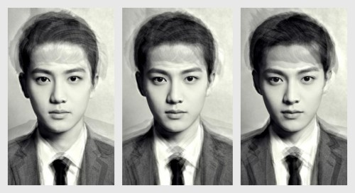 the-voice-of-my-heart:  The Perfect Namja EXO members' average face (Version 2) (top) all members (left) EXO-K (right) EXO-M Version 1