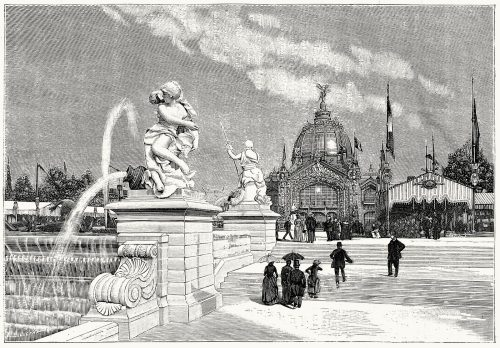 The central dome and the fountains.  From L'Exposition universelle de 1889 (The 1889 Paris world fair) vol. 3, by Émile Monod, Paris, 1890.  (Source: archive.org)