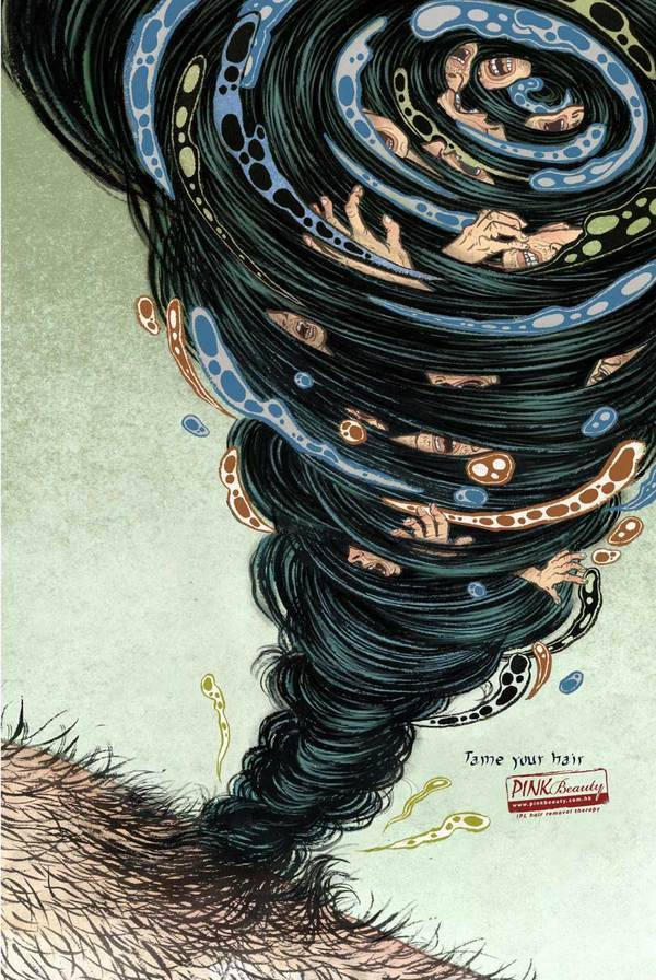 martinekenblog:  Tame Your Hair advertising campain by Yuko Shimizu