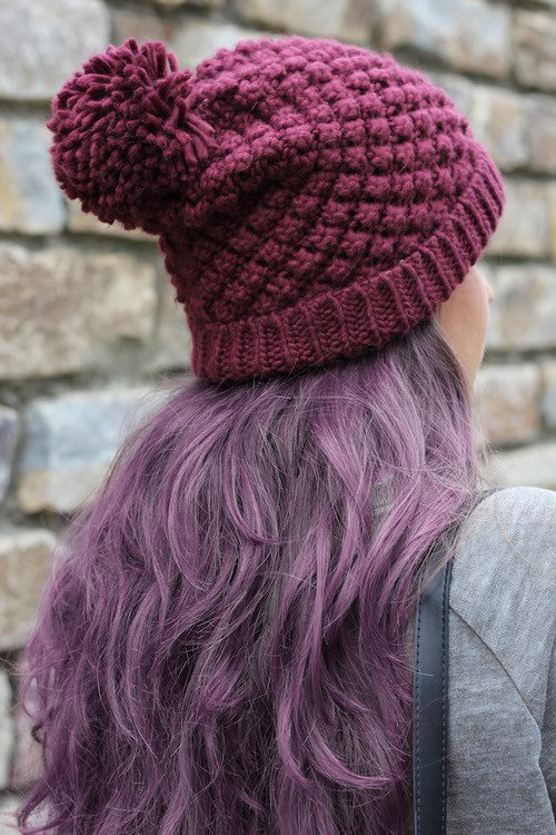 purple hair and a cute hat