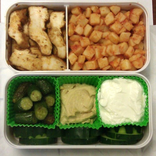 chicken, potatoes,zucchini, hummus, yogurt, cucumber