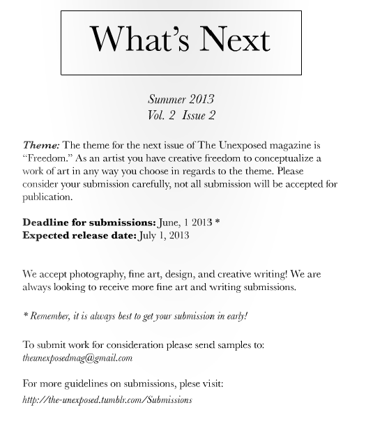 SUMMER 2013; VOL 2, ISSUE 2 THEME AND DEADLINES RELEASED!