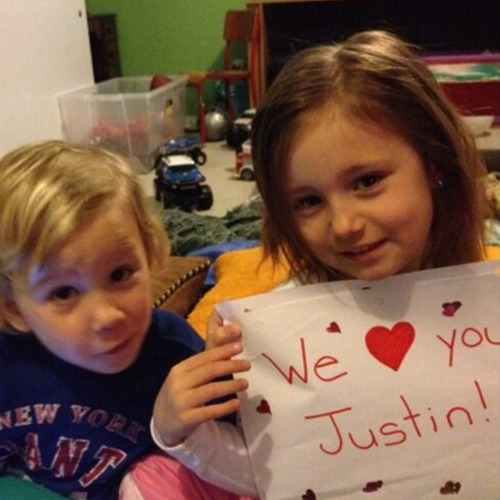 A cute little message from Jaxon and Jazzy for Justin :)