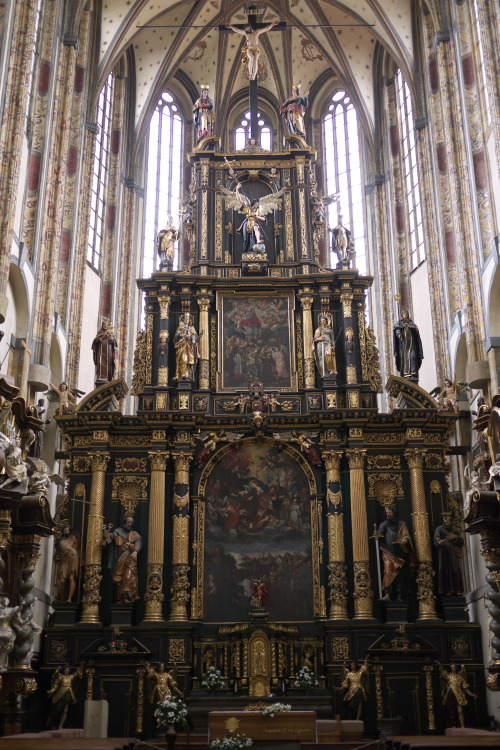 The staggeringly tall reredos of the High Altar of the Church of Our Lady of the Snows, New Town, Prague. Built in 1397 by Charles IV, it was originally intended to rival Prague's cathedral, Saint Vitus, in height; however, Charles's plan was not followed, and today the church's proportions are a bit off, much higher than ought be for its length.