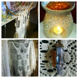 Feeling #bohemian for todays curation. #dreamcatcher by @frombohemiawithlove #gardenia shot melt by JustScentSational, #vintage #poncho with tassles and rare andara #crystal necklace for fulfilling dreams by Metaphysical Moon. All available instore at #LoveStreetBoutique #fashion #handmade #accessories #indie #boho #local #CentralCoast #Gosford
