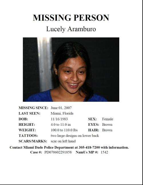 "Lucely ""Lilly"" Aramburo, missing from Miami, FL since June 2007."