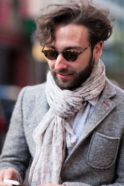 Lorenzo's beautiful scarf is perfect for the unseasonably cold weather…Greenwich Village, NYC (via Details)