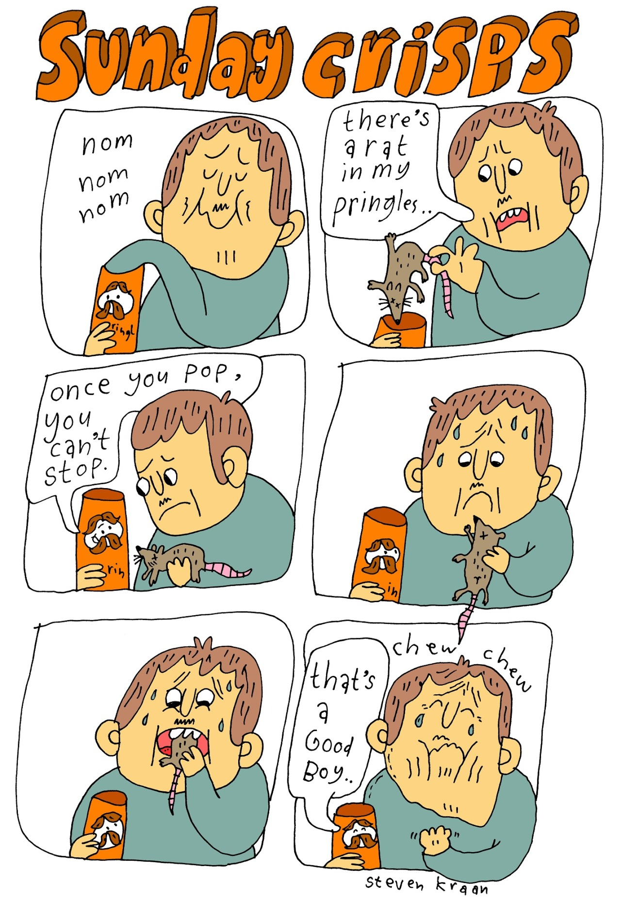"eatsleepdraw:  ""sunday crisps"" For more comics, please visit one of my pages ^__^ http://www.facebook.com/drawingdaily or http://stevenkraandrawingdaily.tumblr.com/  hahahaaha"