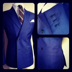 Be a peacock of walk with this cobalt blue four-button, double-breasted blazer by Franc Lloyd - Custom Menswear.