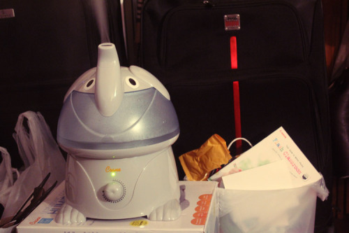 Shout out to my cute new humidifier and my unbecoming trash can.