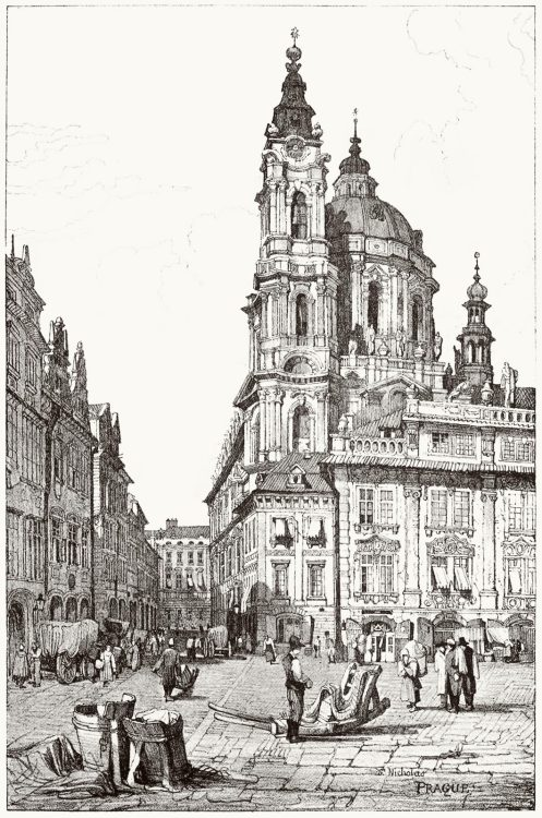 Prague, St. Nicholas.  Samuel Prout, from Sketches by Samuel Prout, by Charles Holme, London, 1915.  (Source: archive.org)