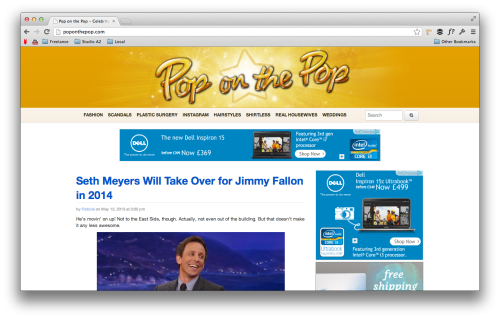 Pop on the Pop is a celebrity gossip site using Bootstrap.