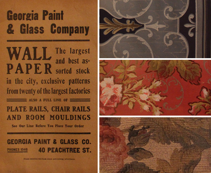 FROM THE COLLECTION- Wallpaper samples from the Georgia Paint and Glass Company, 1900-1910. This artifact is on display in the Metropolitan Frontiers exhibit at the Atlanta History Center.
