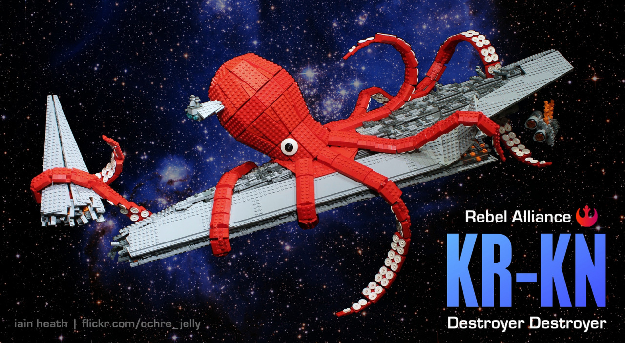 Release the KR-KN! The LEGO Super Star Destroyer set has a bad rap as a big dull gray set. I decided to change that… After the death of the Emperor Palpatine and Lord Vader, the Empire made a last ditch attempt to thwart their enemies by rushing to complete their fleet of Venator class super star destroyers. However, by the time these vessels could be deployed, the Rebel Alliance had already developed its own super weapon, designation KR-KN. The Legend of the KR-KN: A rare species of Space Kraken, known to exist only in the vast Dreighton Nebula, were sought out using the the Jedi's most powerful clairvoyants, and brought under the Alliance's control by flying super-computers directly into their brains. Many brave Ewok pilots were unwillingly sacrificed to accomplish this difficult task. Far from being cruel to the Kraken, this arrangement was completely symbiotic, as the creatures had evolved to prey on starships, their diet being composed entirely of metals such as quadanium steel. Originally debuted at Emerald City Comicon 2013, and now permanently on display at the head offices of Tableau Software in Seattle. Read the story behind this build here. (by ochre_jelly)