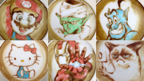 kotakucom:  Nowtoo Sugi from Japan does latte art. In color.