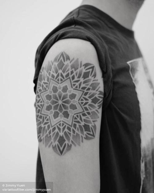 By Jimmy Yuen, done in Hong Kong. http://ttoo.co/p/35725 big;dotwork;facebook;jimmyyuen;mandala;sacred geometry;of sacred geometry shapes;twitter;upper arm