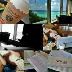 #studying at #westin #tumon #guam#with @pjamin #earlymorning #view #beachview #beach #coffee #starbucks #hot and #ice #nursing #homeworn #math #himework #silhouette #lobby #hotel