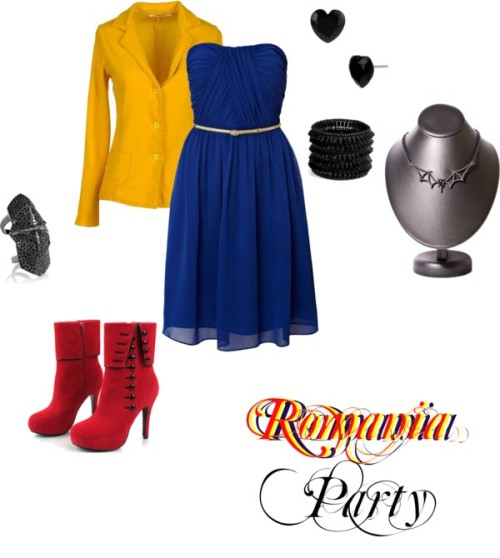 Fem!Romania- Party by we-burn-you-burn-with-us featuring strapless cocktail dressesUntold strapless cocktail dress, $175 / Blazer / Cross jewelry / Philippe Audibert spike jewelry / Betsey Johnson heart earrings