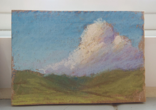 "Pastel, 2"" x 3""I have dozens of these miniature cloud pastels, none bigger than 3 inches. I'll do twenty of them if I'm stressed or bored or homesick for somewhere I've never been."