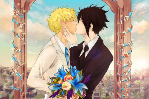 naru-uzumaki:  Wedding Day by carrotcakebandit. Oh my god, this wonderful commission was done for us by the wonderful carrotcakebandit and she did an amazing job. I just want to thank her for this beautiful artwork and share it with you guys. The best wedding gift ever.